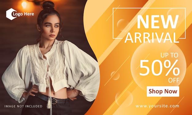 Modelo de banner de promoção de moda para nova chegada