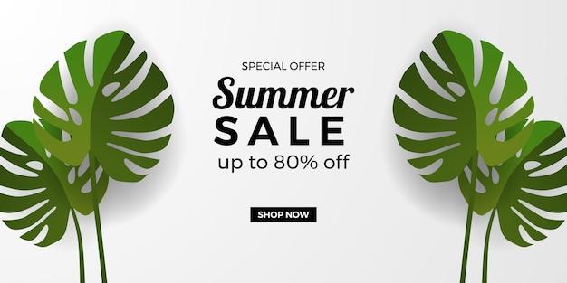 Modelo de banner de promoção de oferta de venda de verão com folhas tropicais verdes monstera