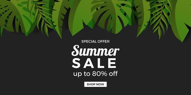 Modelo de banner de promoção de oferta de venda de verão com moldura de folhas tropicais botânicas verdes