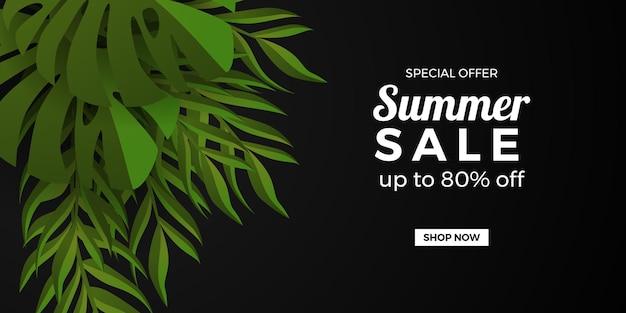 Modelo de banner de promoção de oferta de venda de verão com moldura preta de folhas tropicais botânicas
