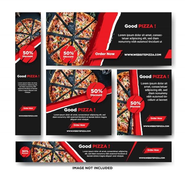 Modelo de banner de promoção de pizza