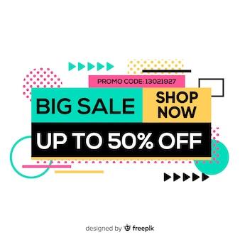 Modelo de banner de promoção de venda abstrata