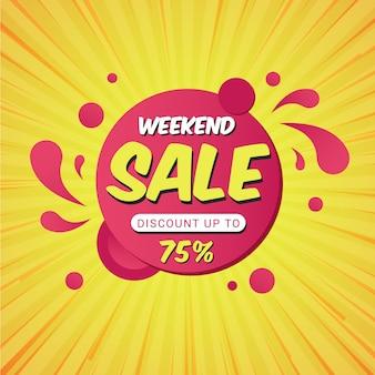 Modelo de banner de promoção de venda de fim de semana