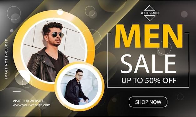 Modelo de banner de promoção de venda de homens