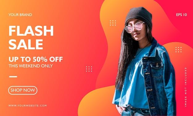 Modelo de banner de promoção de venda de moda