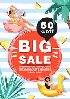 Modelo de banner de promoção de venda de verão