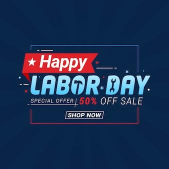 Modelo de banner de promoção de venda do dia do trabalho