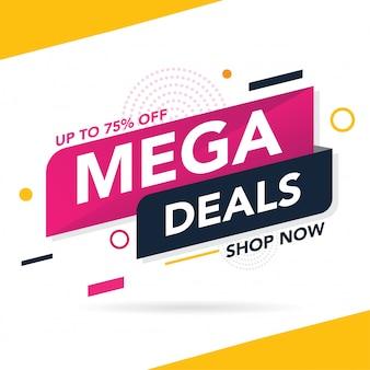 Modelo de banner de promoção de venda mega