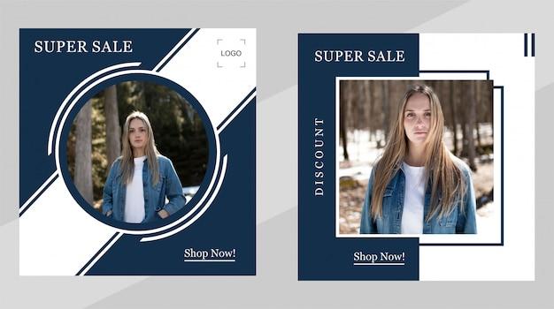 Modelo de banner de promoção de venda para post na web e mídia social
