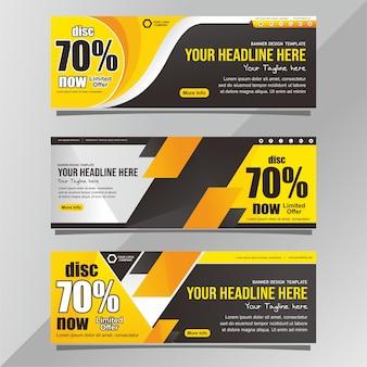 Modelo de banner de promoção preto e amarelo