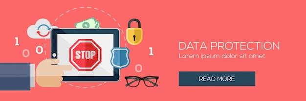 Modelo de banner de proteção de dados.
