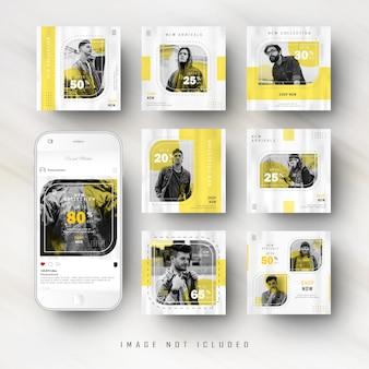 Modelo de banner de publicação de feed de mídia social amarelo minimalista
