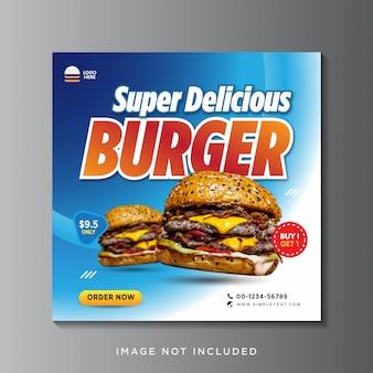 Modelo de banner de publicação de instagram de mídia social de promoção de menu de hambúrguer