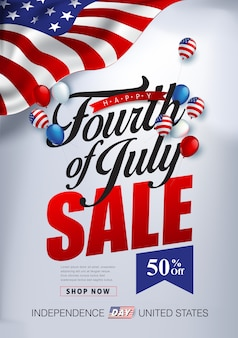Modelo de banner de publicidade de promoção de venda de dia de independência de eua. 4 de modelo de cartaz de comemoração de julho.