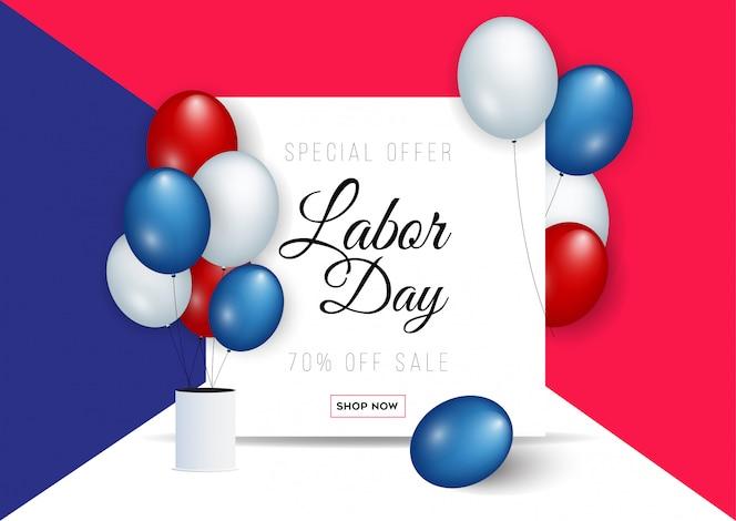 Modelo de banner de publicidade de promoção de venda do dia do trabalho