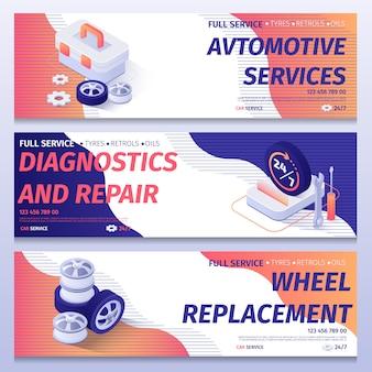 Modelo de banner de publicidade de serviço completo de carro definido