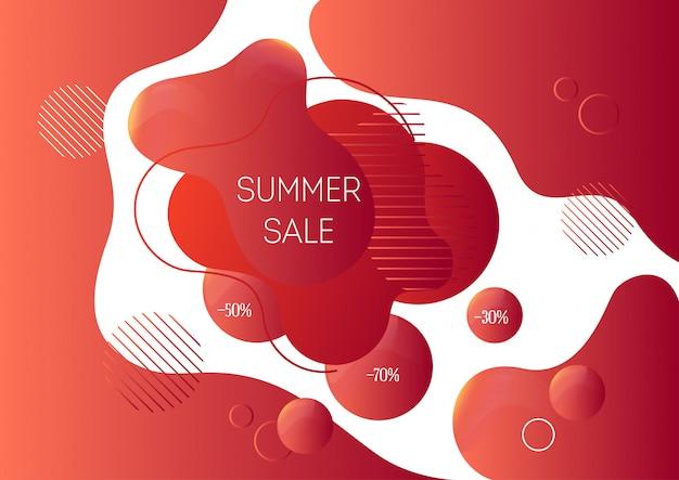 Modelo de banner de publicidade de venda de verão com formas líquidas abstratas na moda