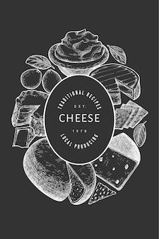 Modelo de banner de queijo Vetor Premium