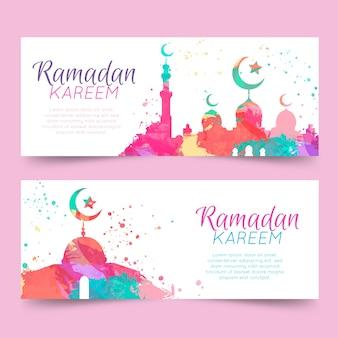 Modelo de banner de ramadan kareem em aquarela