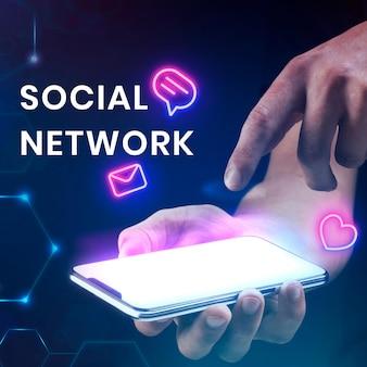 Modelo de banner de rede social com fundo de smartphone