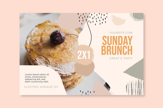Modelo de banner de restaurante de comida de brunch de domingo