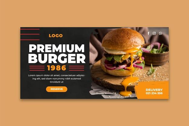 Modelo de banner de restaurante de hambúrgueres