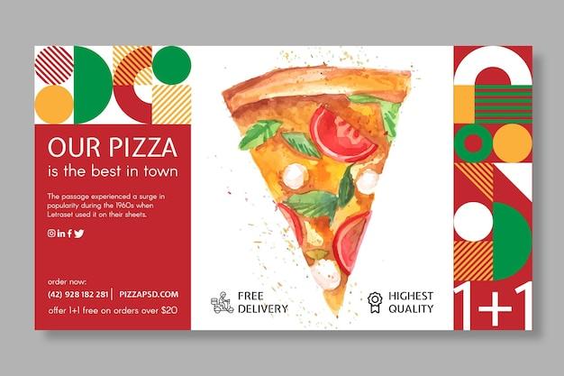 Modelo de banner de restaurante de pizza