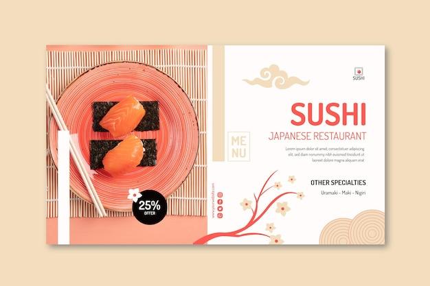 Modelo de banner de restaurante japonês