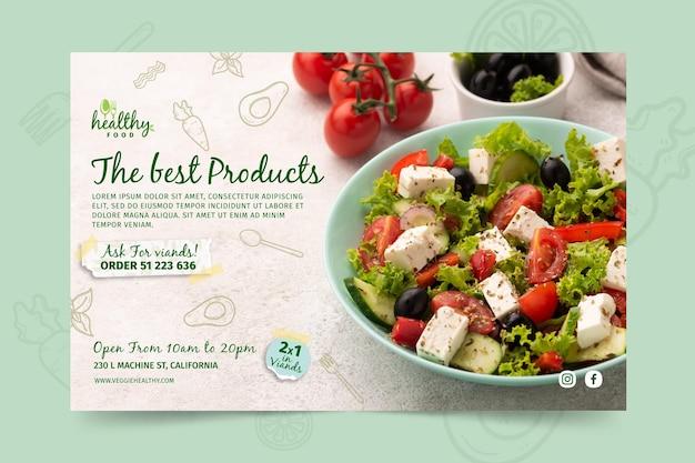 Modelo de banner de restaurante saudável