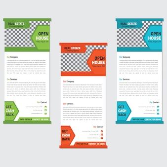 Modelo de banner de roll-up de negócios conjunto com forma abstrata colorida Vetor Premium