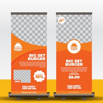 Modelo de banner de roll-up de restaurante