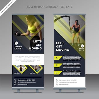 Modelo de banner de roll-up profissional de fitness center