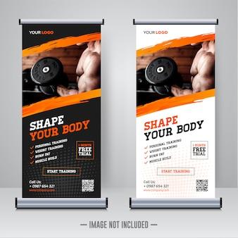 Modelo de banner de rollup de ginásio fitness