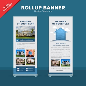 Modelo de banner de rollup imobiliária corporativa Vetor Premium