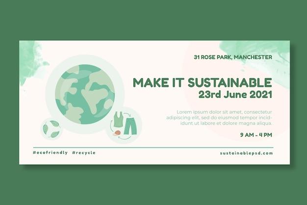 Modelo de banner de roupas sustentáveis para o meio ambiente
