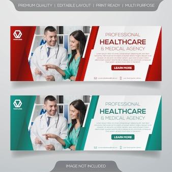 Modelo de banner de saúde e médico