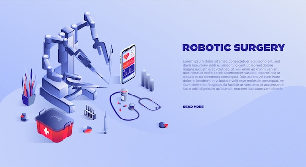 Modelo de banner de serviço de cirurgia robótica