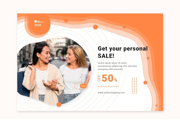 Modelo de banner de serviço de compras online