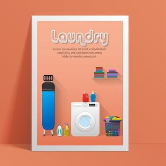 Modelo de banner de serviço de lavanderia com vista para a lavanderia