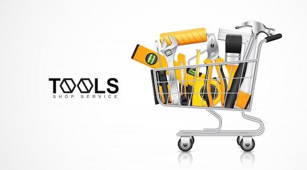 Modelo de banner de serviço de loja de ferramentas de construção