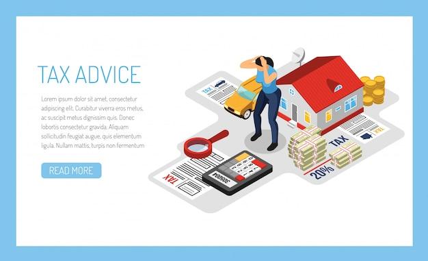 Modelo de banner de serviço on-line de aconselhamento fiscal pessoal, ilustração isométrica com declaração de renda de propriedade de proprietário