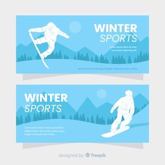Modelo de banner de silhueta de esporte de inverno