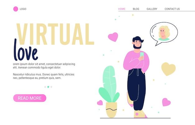 Modelo de banner de site de namoro e amor virtual com pessoas que escolhem parceiro nas mídias sociais.