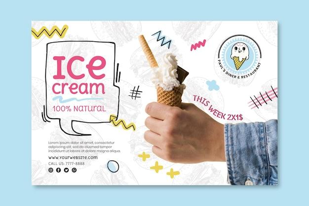 Modelo de banner de sorvete de comida americana