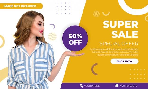 Modelo de banner de super venda de moda