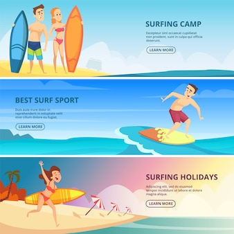 Modelo de banner de surf com ilustrações. pessoas surfistas