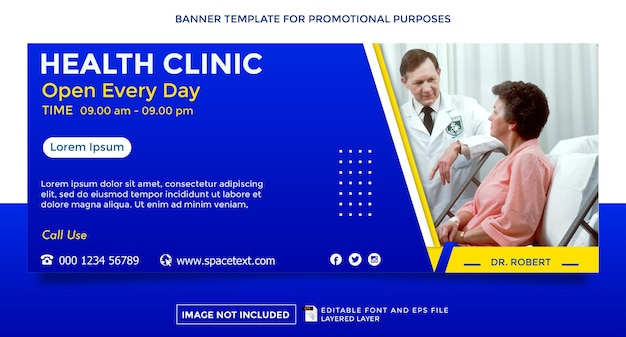 Modelo de banner de tema clínica e prática de saúde