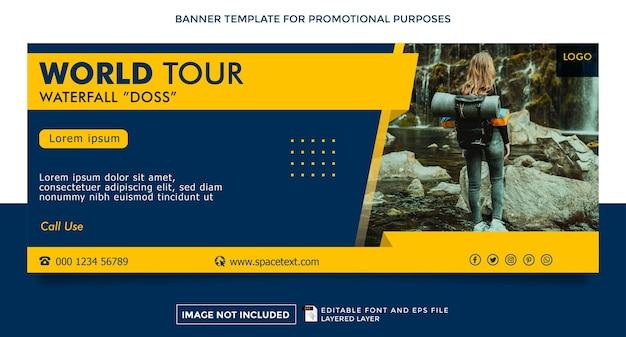 Modelo de banner de tema de agência de viagens