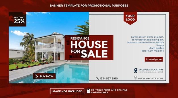 Modelo de banner de tema de venda residencial para família
