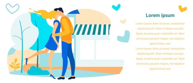Modelo de banner de texto publicidade namoro romântico ao ar livre